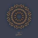 Mandala oriental de fleur ornementale d'or sur le backgroun brun de couleur Photographie stock