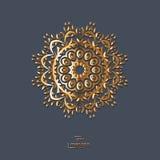 Mandala oriental de fleur ornementale d'or sur le fond bleu de couleur Photos stock