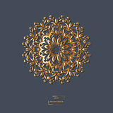 Mandala oriental de fleur ornementale d'or sur le fond bleu de couleur Photo stock