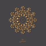 Mandala oriental de fleur ornementale d'or sur le fond gris de couleur Photos stock