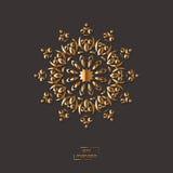 Mandala oriental de fleur ornementale d'or sur le fond gris de couleur Images stock