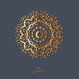 Mandala oriental de la flor ornamental del oro en fondo azul del color Imagenes de archivo