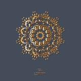 Mandala oriental de la flor ornamental del oro en fondo azul del color Imagen de archivo libre de regalías