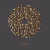 Mandala oriental de la flor ornamental del oro en fondo gris del color Imagenes de archivo