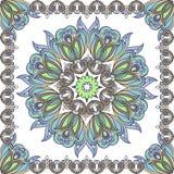 Mandala In Oriental Style Bloem in blauwe en gouden tonen in een kader vector illustratie