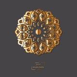 Mandala orientale del fiore ornamentale dell'oro sul fondo grigio di colore Fotografie Stock