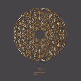 Mandala orientale del fiore ornamentale dell'oro sul fondo grigio di colore royalty illustrazione gratis