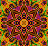 Mandala Ornament dans la forme du kaléidoscope lumineux de flocon de neige Photos stock