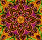Mandala Ornament in Form des hellen Schneeflockenkaleidoskops stockfotos