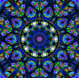 Mandala Ornament in Form des hellen Schneeflockenkaleidoskops lizenzfreie stockfotografie