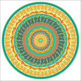 Mandala-16. Ornament multicolor card with mandala. Round ornamental vector shape isolated on white. Vector illustration Royalty Free Stock Photography