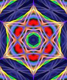 Mandala Ornament in shape of bright snowflake kaleidoscope Stock Photos