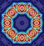 Mandala Ornament in shape of bright snowflake kaleidoscope Stock Images