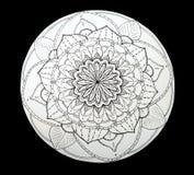 Mandala ornamental de la flor blanco y negro Imagen de archivo