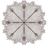 Mandala ornamentale con le piume del pavone Progettazione di arte del tatuaggio Modello dell'ornamento del tappeto Vettore per la illustrazione di stock