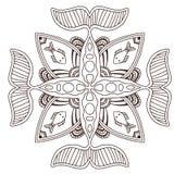 Mandala ornamentale dell'oceano con i pesci Progettazione di arte del tatuaggio Modello dell'ornamento del tappeto Vettore per la royalty illustrazione gratis