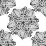 mandala Ornamento rotondo in bianco e nero Illustrazione di vettore Fotografie Stock