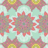 Mandala ornate pattern background. Seamless vector pattern background with ornamental colorful mandala flowers Stock Photo