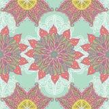 Mandala ornate pattern background. Seamless vector pattern background with ornamental colorful mandala flowers royalty free illustration