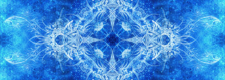 Mandala ornemental Aspiration de main et collage originaux d'ordinateur Structure bleue de couleur Effet d'hiver illustration de vecteur
