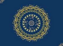 mandala Ouro no azul Imagem de Stock