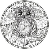 Mandala with owl. Design Zentangle. Hand drawn abstract patterns on isolation background. Design for spiritual relaxation for adults.  Black and white Royalty Free Stock Photography
