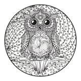Mandala. Owl. Zentangle vector illustration