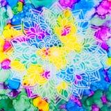 Mandala på regnbågebakgrund Arkivbilder
