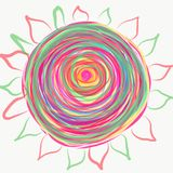 Mandala painted with watercolor. Stock Photos