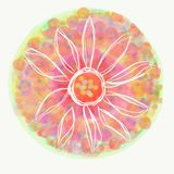 Mandala painted with watercolor. Royalty Free Stock Photo