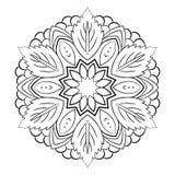 Mandala para el libro del color Ejemplo monocromático Palmadita simétrica Fotografía de archivo libre de regalías