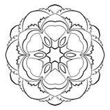 Mandala para el libro del color Ejemplo monocromático Palmadita simétrica Fotos de archivo libres de regalías