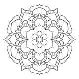 Mandala para el libro del color Ejemplo monocromático Palmadita simétrica Imagen de archivo libre de regalías