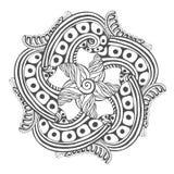 Mandala para páginas do livro para colorir Teste padrão do ornamento do vetor para o projeto da tatuagem Fotos de Stock Royalty Free