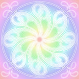 Mandala pastel colours round ornament. Mandala with a circular pastel rainbow Royalty Free Stock Image