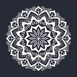 Mandala pattern black and white ornament stock illustration