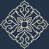 Mandala pattern black and white ornament. For element design and background stock illustration