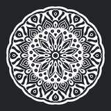Mandala pattern black and white silhouette ornament for element design and background royalty free illustration