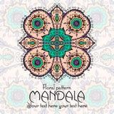 Mandala pattern design template. Vintage ethnic royalty free illustration