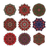 Mandala pattern flower vector set. Royalty Free Stock Images