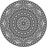 Mandala pattern large black and white Stock Photos