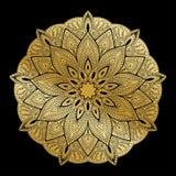 Mandala Pattern Ornamento decorativo del vintage árabe Mandala en fondo negro Fotos de archivo libres de regalías