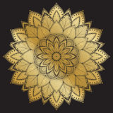 Mandala Pattern Ornamento decorativo del vintage árabe Mandala en fondo negro Imagen de archivo