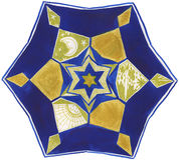 Mandala peint à la main : bleu et or Images libres de droits