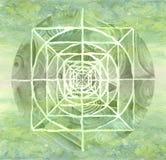 Mandala pintada verde Imagen de archivo libre de regalías