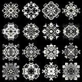 Mandala of pixels on a black background symbols collection Stock Image