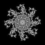 Mandala preto e branco ilustração stock