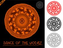 Mandala in primitive, ethnic style rock. Cave figure with animal ornament of the wolves and a solar sign in the center Stock Images
