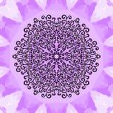 Mandala Print en el fondo de Violet Seamless Texture Elemento decorativo del vintage en textura sin fin Mano drenada Imagen de archivo