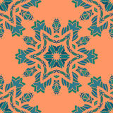 Mandala print ornament symmetry seamless background. Decorative round ornament for colouring anti-stress therapy. Fabric Royalty Free Stock Photo